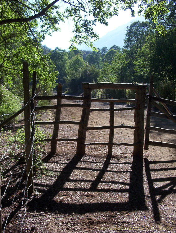View of the gate to Lircay Reserve (National Park), Vilches, Chile.