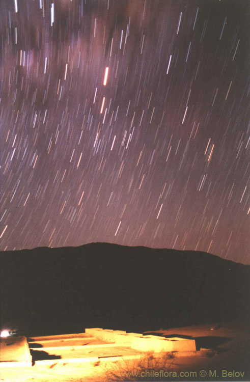 An image of Inca mining (copper) installation under the night sky with stars, near Lautaro, Copiapo, Chile.