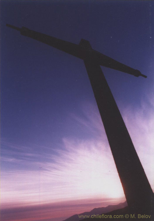 An image of an iron cross at Lagunillas, Chile.